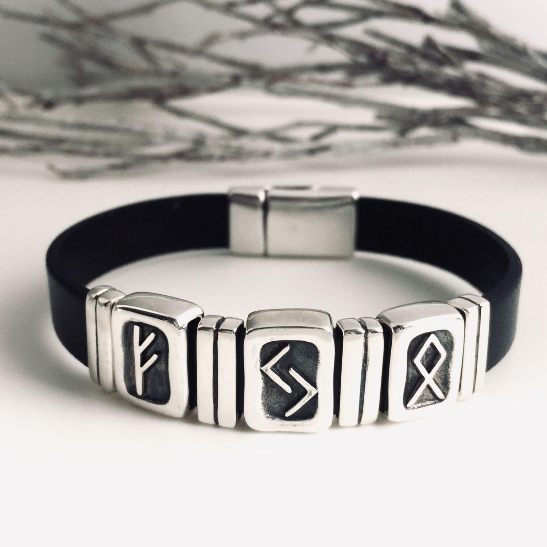 Cash Flow Men's Rune Bracelet Fehu Yera Odal, Hard bracelet, Moscow,  Фото №1