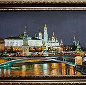 Ночной Кремль. Вид с мостом. 50х70см +рама