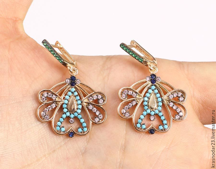 Earrings 925 SILVER with 24 carat gold, decorated with turquoise, green tourmaline, quartz (sapphire) and zircon
