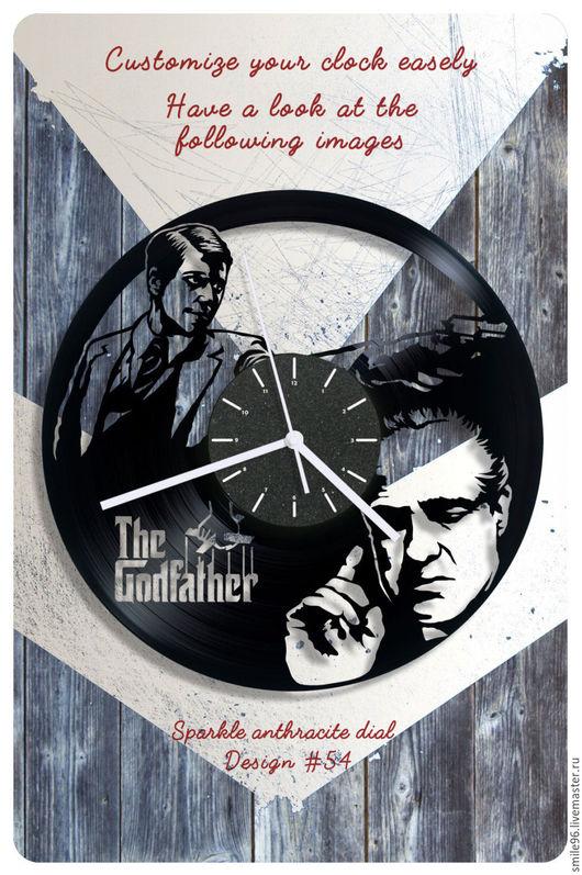 """Часы для дома ручной работы. Ярмарка Мастеров - ручная работа. Купить Часы из пластинки """"Крёстный отец"""". Handmade. Комбинированный"""