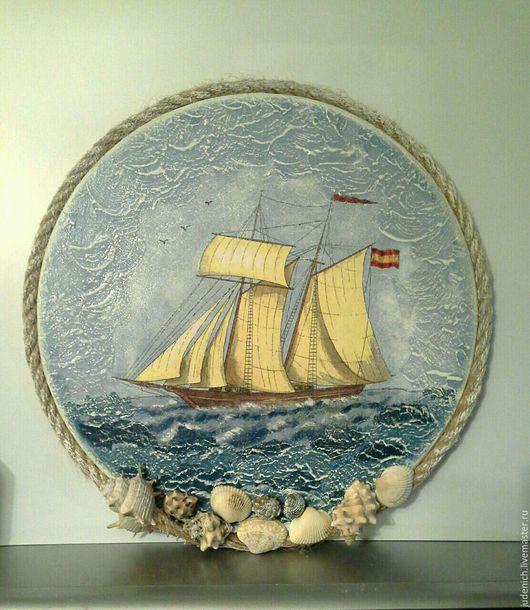 """Пейзаж ручной работы. Ярмарка Мастеров - ручная работа. Купить панно """"Ветер странствий"""". Handmade. Морская волна, панно настенное"""