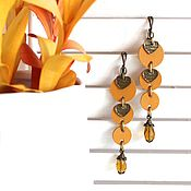 Украшения handmade. Livemaster - original item earrings: Long leather earrings Turmeric 5. Handmade.