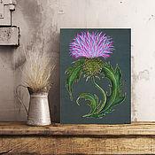 """Картины и панно handmade. Livemaster - original item The painting on wood 40x30sm """"The thistle"""". Handmade."""