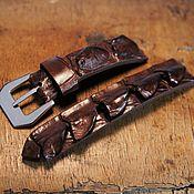 Украшения handmade. Livemaster - original item Alligator leather watch strap, Watch band, Brown watch strap, Handmade. Handmade.