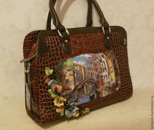 Сумка женская из натуральной кожи , сумка с принтом, сумка с цветами, повседневная сумка