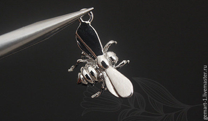 Pendant for jewelry Bee art. 3-5 rhodium plated, Pendants, Moscow,  Фото №1