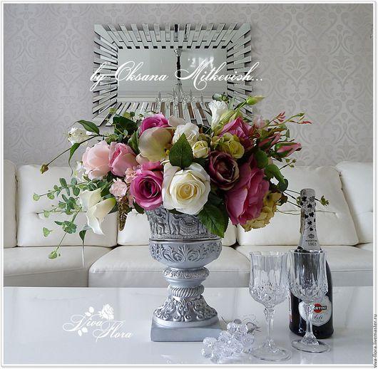 """Интерьерные композиции ручной работы. Ярмарка Мастеров - ручная работа. Купить """"Богиня"""" Интерьерный букет в вазе. Handmade. Розовый"""