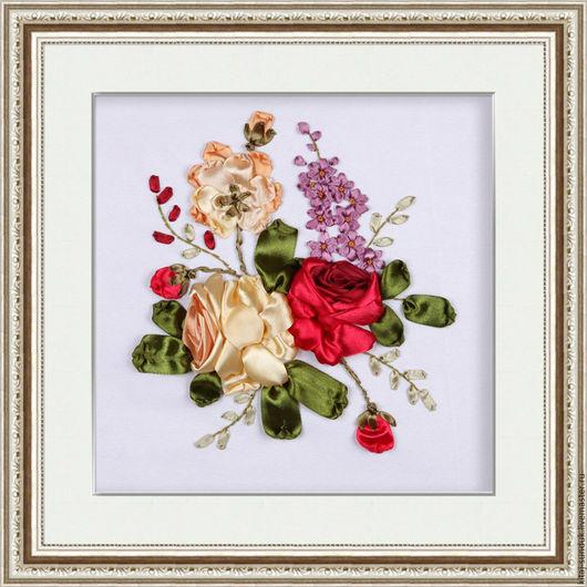 Вышивка ручной работы. Ярмарка Мастеров - ручная работа. Купить Набор для вышивки лентами Три розы. Handmade. Комбинированный