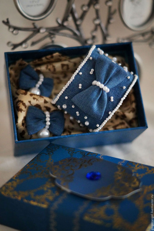Комплекты украшений ручной работы. Ярмарка Мастеров - ручная работа. Купить Комплект Джинсовые бантики. Handmade. Синий, джинсовый браслет