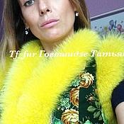 Одежда ручной работы. Ярмарка Мастеров - ручная работа Жилетка из павлопасадского платка м мехом песца (лимонный цвет). Handmade.