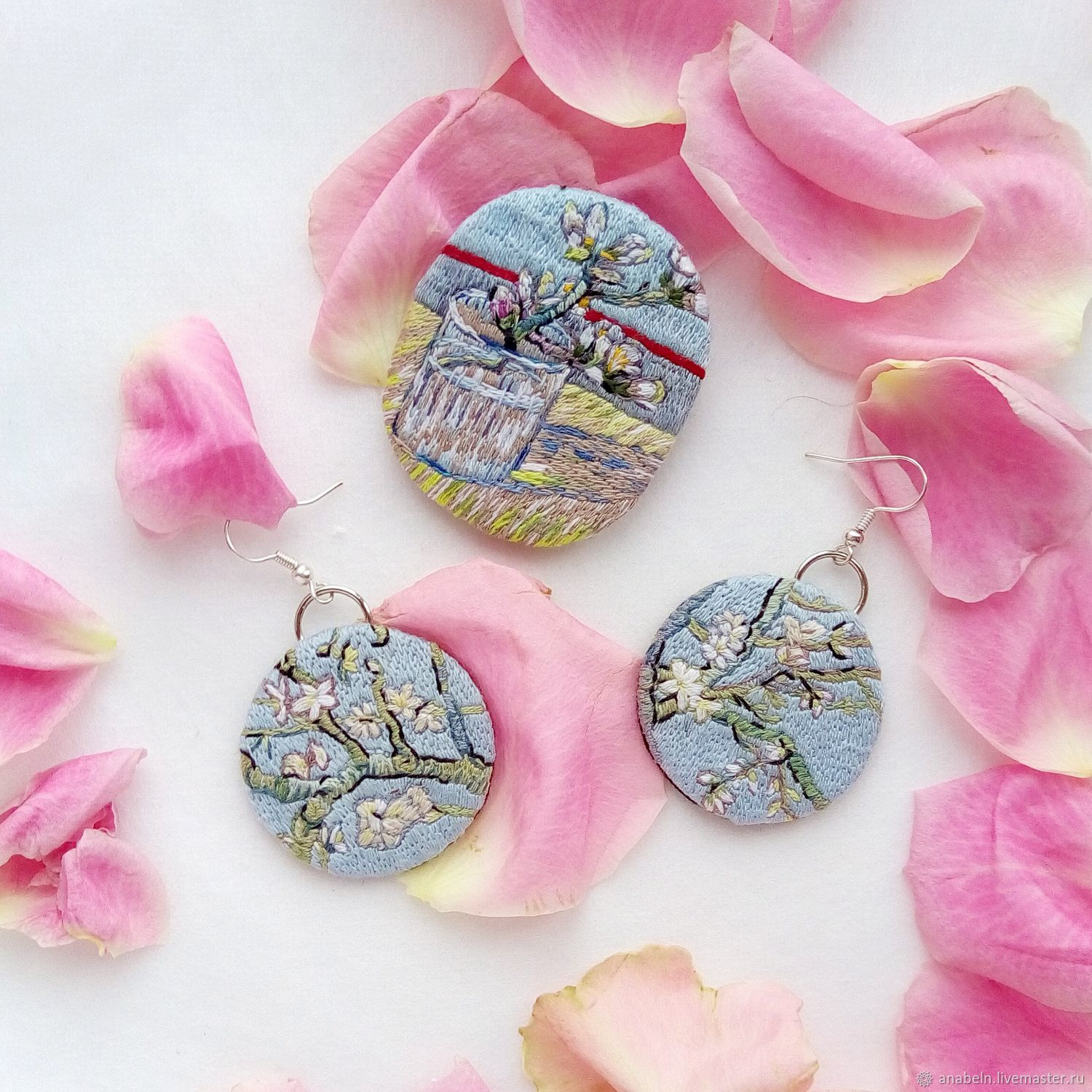 Earrings based on the painting In Van Gogh almond blossom – shop