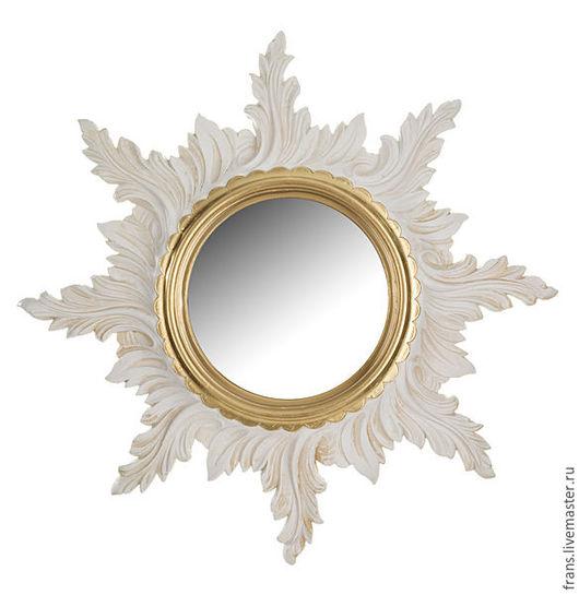 Зеркала ручной работы. Ярмарка Мастеров - ручная работа. Купить Зеркало настенное Золотое Солнце. Handmade. Белый, зеркало настенное
