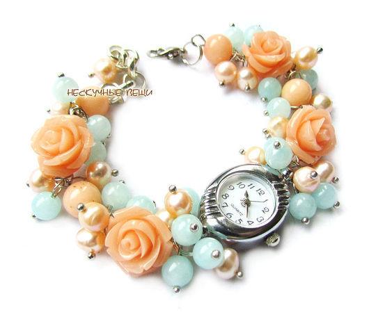 """Часы ручной работы. Ярмарка Мастеров - ручная работа. Купить Часы """"Розалинда"""". Handmade. Бежевый, часики, розы, прессованный коралл"""