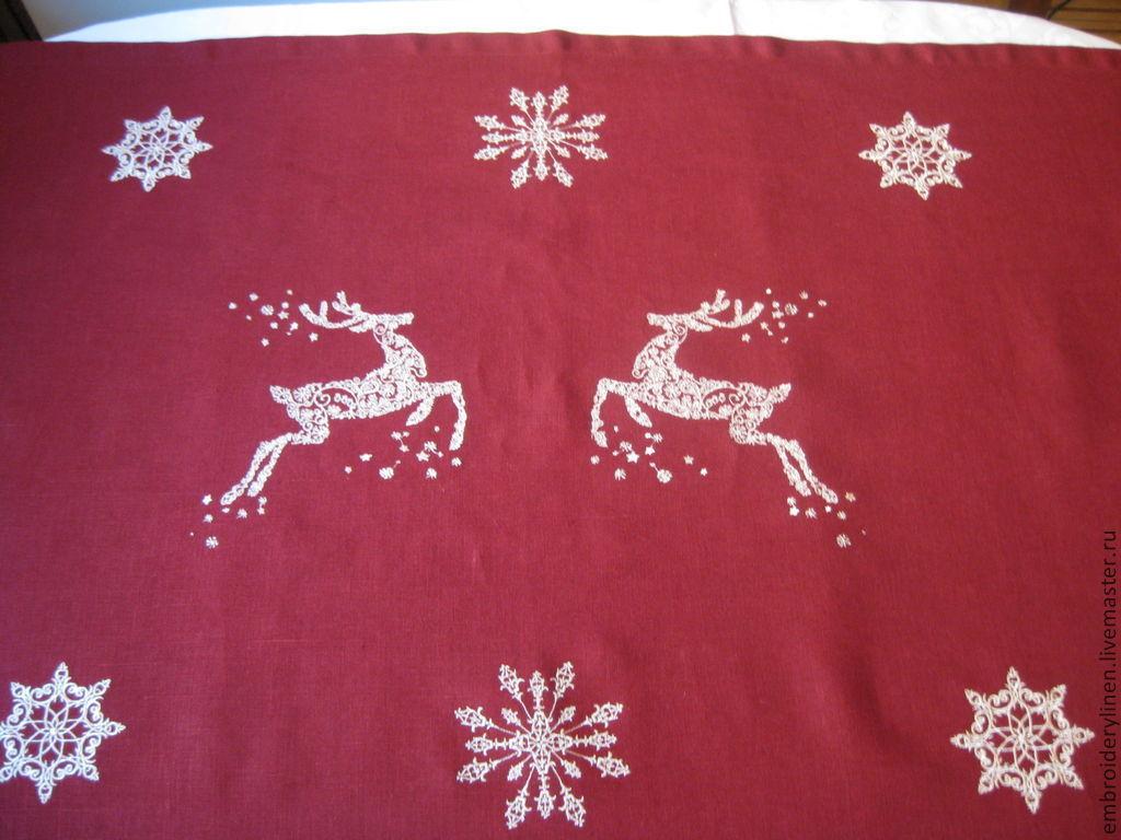 Flax track 'new year deer', Tablecloths, Ramenskoye,  Фото №1