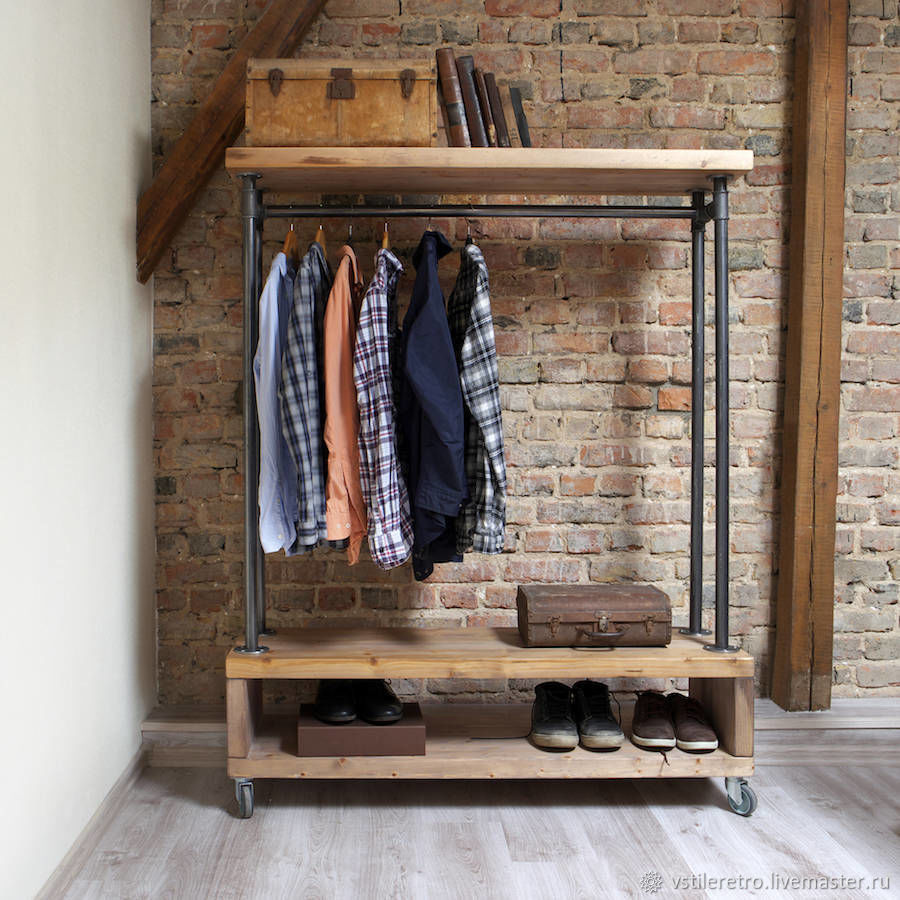 Loft rail for clothes made of pipes with three wooden shelves, Hanger, Moscow,  Фото №1