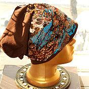 Текстильная бохо-шапочка коричневая №4