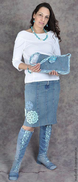 Обувь ручной работы. Ярмарка Мастеров - ручная работа. Купить джинсовый комплект. Handmade. Синий, сумка джинсовая, Джинсовая ткань