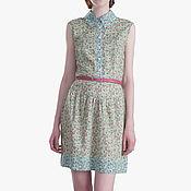 Одежда ручной работы. Ярмарка Мастеров - ручная работа Платье рубашка зеленое в цветочек с голубой отделкой. Handmade.