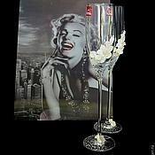 """Свадебный салон ручной работы. Ярмарка Мастеров - ручная работа Светящиеся бокалы """"Улыбка Монро"""". Handmade."""