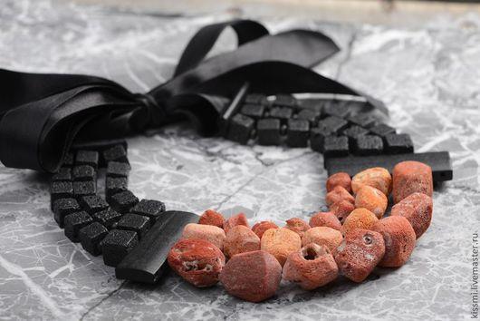 """Колье, бусы ручной работы. Ярмарка Мастеров - ручная работа. Купить Колье """"Лава губчатый коралл"""". Handmade. Коралловый, коралл"""