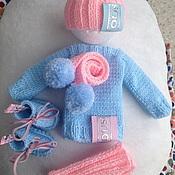Одежда для кукол ручной работы. Ярмарка Мастеров - ручная работа Розово-голубой комплект. Одежда для кукол. Handmade.