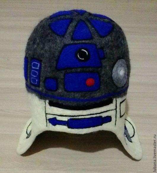 """Банные принадлежности ручной работы. Ярмарка Мастеров - ручная работа. Купить Шапка для бани """"R2 D2"""". Handmade. Серый, юмор"""