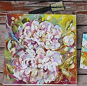 Картины и панно handmade. Livemaster - original item July morning - painting with peonies. Handmade.