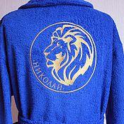 Одежда ручной работы. Ярмарка Мастеров - ручная работа Синий махровый халат с оригинальной именной вышивкой 15174. Handmade.
