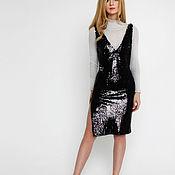 Одежда ручной работы. Ярмарка Мастеров - ручная работа чёрное платье в пайетках. Handmade.