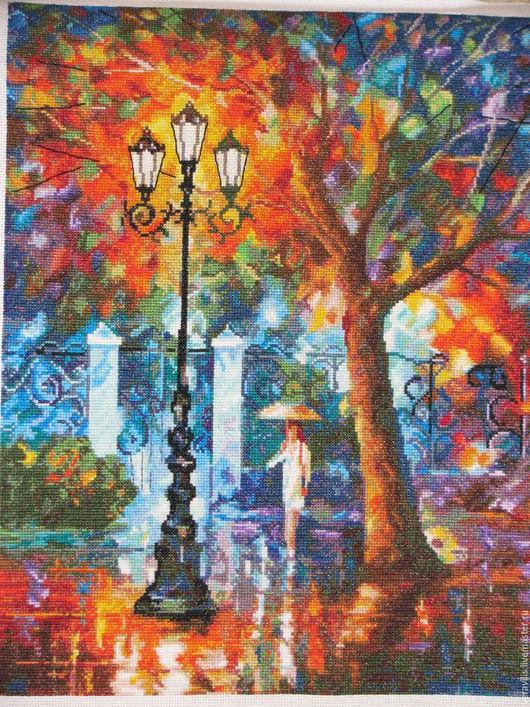 Пейзаж ручной работы. Ярмарка Мастеров - ручная работа. Купить Аура дождя Вышитая картина крестиком. Handmade. Тёмно-синий