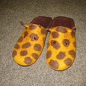 Обувь ручной работы handmade. Livemaster - original item Slippers-felted flip flops Girafe. Handmade.