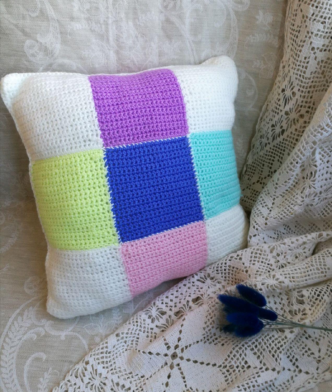 Декоративные подушки спицами своими руками 64