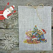 3-18 Елка, 15х20см мешочки для подарков льняные, упаковка подарок
