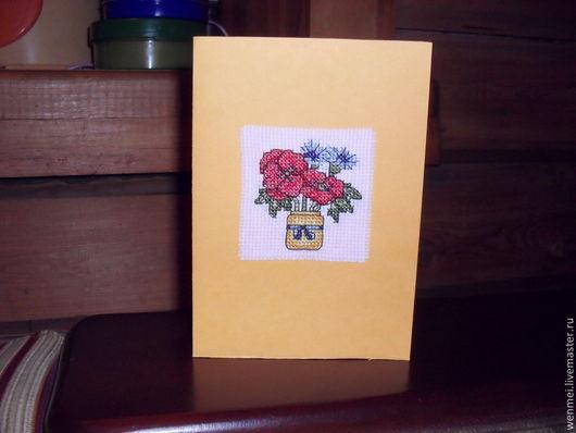"""Открытки на все случаи жизни ручной работы. Ярмарка Мастеров - ручная работа. Купить Поздравительная открытка """"Маки"""". Handmade. Желтый"""