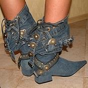 Обувь ручной работы. Ярмарка Мастеров - ручная работа Сапоги джинсовые, 3см. каблук. Handmade.