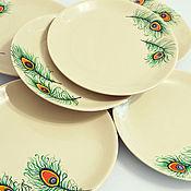 Посуда ручной работы. Ярмарка Мастеров - ручная работа Тарелки обеденные  с пером павлина. Handmade.