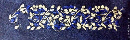 """Этно ручной работы. Ярмарка Мастеров - ручная работа. Купить Вышивка на одежде, картинка, картина, панно """"Веточка сине-белая"""". Handmade."""