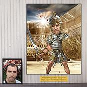 Сувениры и подарки handmade. Livemaster - original item gift for birthday. Caricature-picture by photo. Gladiator. Handmade.