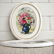 """Картины и панно ручной работы. Ярмарка Мастеров - ручная работа панно """"Цветы в синих вазах"""".. Handmade."""