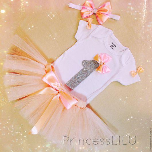 """Одежда для девочек, ручной работы. Ярмарка Мастеров - ручная работа. Купить Комплект именинницы """"Персиковая Конфетка"""" (боди, юбка-пачка). Handmade."""