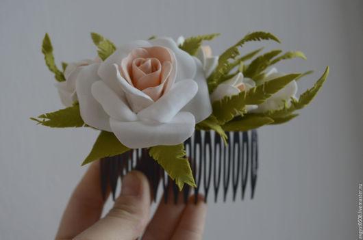 Заколки ручной работы. Ярмарка Мастеров - ручная работа. Купить Гребешок с нежными розами. Handmade. Белый, гребень, гребень свадебный