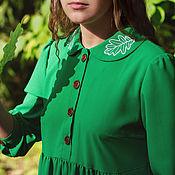 Одежда handmade. Livemaster - original item MIDI length dress with embroidered oak leaves on the collar. Handmade.