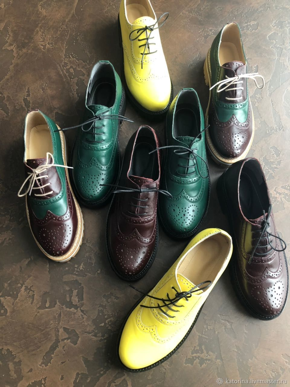 Boots moccasin leather with uneven Green and yellow, Oxfords, Moscow,  Фото №1
