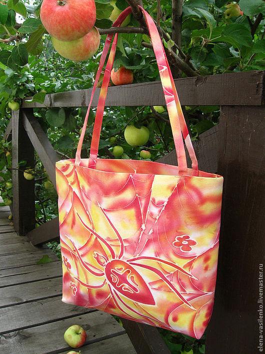 Сумка летняя текстильная с росписью батик
