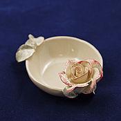 Посуда handmade. Livemaster - original item Coffee with milk and roses - sockets for jam. Handmade.