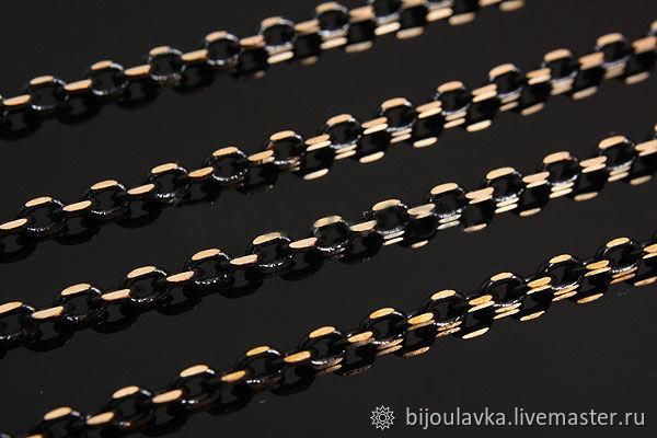 Цепочка чёрная с позолоченными вставками, 50 см, Южная Корея – купить на Ярмарке Мастеров – IK53JRU | Цепочки, Москва