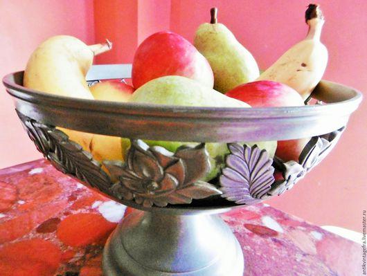 Винтажная посуда. Ярмарка Мастеров - ручная работа. Купить Винтажное блюдо ваза чаша для фруктов Fleurs олово Франция. Handmade.