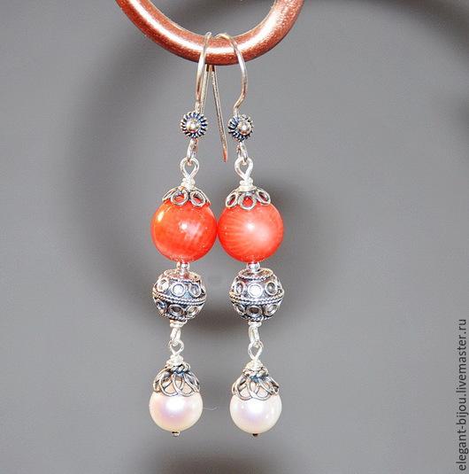 серьги с жемчугом; серьги с кораллами; серебряные серьги; Марина Полянская `Элегант бижу`