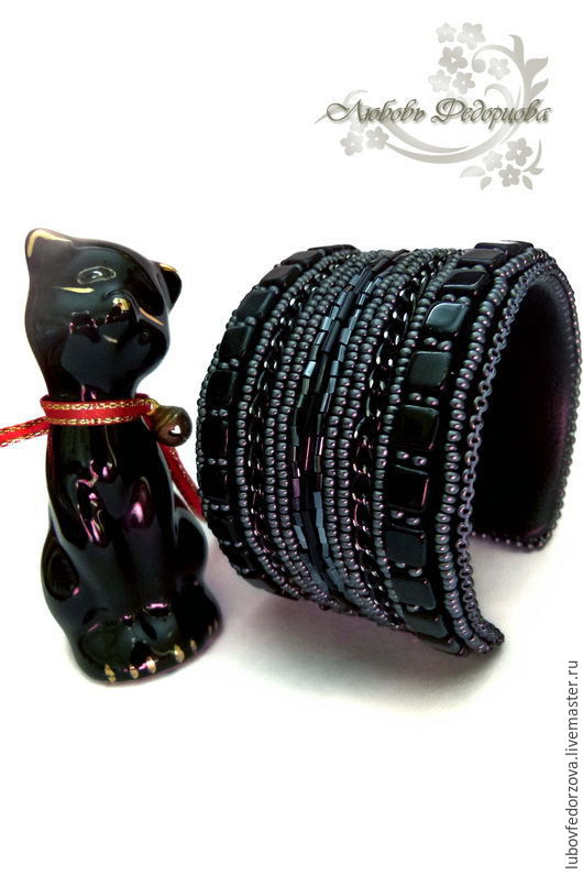 Beaded Bracelet, based on a wide, black, Bracelets, Bryansk, Фото №1