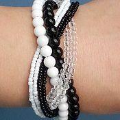 Украшения handmade. Livemaster - original item Bracelet agate,cacholong and crystal